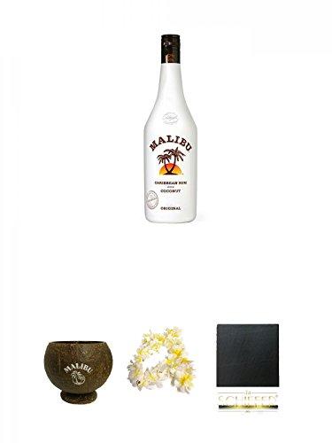 Malibu karibischer Kokosnuss Rum Likör 0,7 Liter + Malibu Kokosnussbecher - Coconut Cup + Malibu Blumenhalskette + Schiefer Glasuntersetzer eckig ca. 9,5 cm Durchmesser
