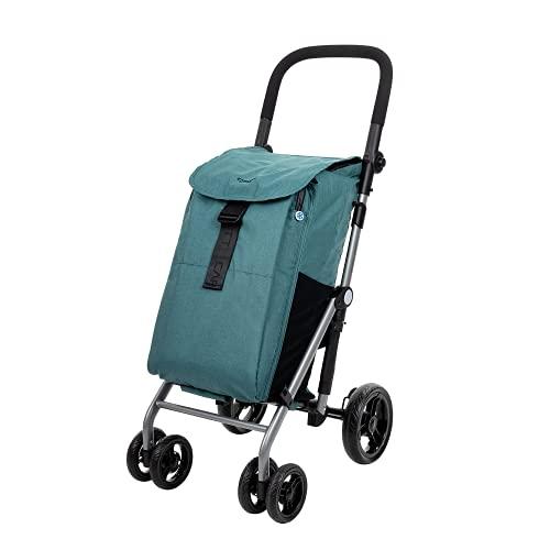 CARLETT | Einkaufstrolley mit 4 Rädern | Lett430 CLASSIC duo | Zusammenklappbarer Einkaufswagen mit großer Kapazität, 25kg, 53L Einkaufstasche, 9L Thermotasche und Rückenfach | Pine Grün