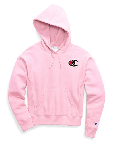 Champion Life Womens Reverse Weave Pullover Hoodie, M, Big C Pink Candy