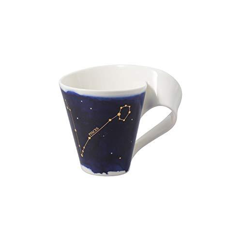 Villeroy & Boch - NewWave Stars Becher mit Henkel, formschöne Tasse mit Fische-Motiv, Premium Porzellan, spülmaschinengeeignet, weiß/blau, 300 ml
