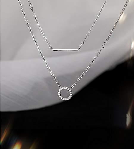 aolongwl Collar femenino geométrico doble collar clavícula cadena 925 plata esterlina colgante collar para mujeres boda joyería fina accesorios plata