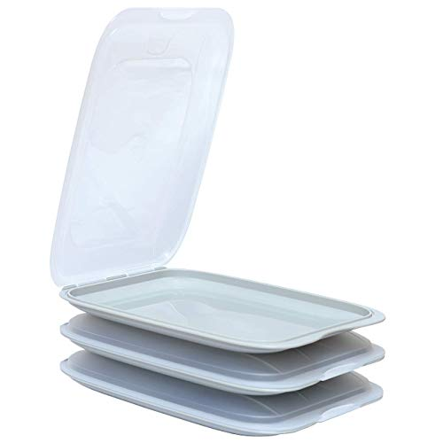 ENGELLAND - Hochwertige stapelbare Aufschnitt-Boxen, Frischhaltedose für Aufschnitt. Wurst Behälter. Perfekte Ordnung im Kühlschrank, 3 Stück Farbe Grau, Maße 25 x 17 x 3.3 cm