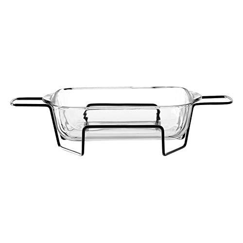 montana :oven Lasagneform 25x22, mit Metallständer, 2-tlg. Set, Volumen 1,9l, spülmaschinengeeignet, Klarglas, 046936