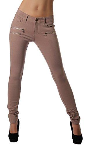 Freyday Modische Bequeme Damen Jeggings Leggings Hüfthose Stretch Slimfit (Dunkelbeige, S / 36)