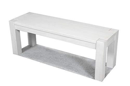 Naturholzmöbel Seidel Sitzbank 120x38cm Rio Bonito Farbton White Grain Massivholz Pinie Landhaus Weiss Bank Kanten im leichten Vintage Used Look, Optional: passende Tische