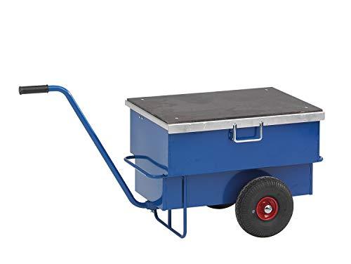 Lagerino Werkzeugwagen, Baustellenwagen, 940x620x610 mm, 250 kg Tragfähigkeit, mit unplattbaren Rädern, Blau