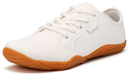 WHITIN Herren Canvas Sneaker Barfussschuhe Traillaufschuh Barfuss Schuhe Barfußschuhe Barfuß Barfußschuh Minimalistische Laufschuhe für Männer Hallenschuhe rutschfeste Weiß gr 42 EU