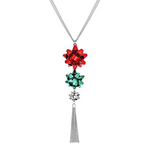CEALXHENY Christmas Necklace for Women Festive Bow Pendant Necklaces Delicate Chain Tassel Necklace Long Necklace for Girls (Red+Green+Silver)