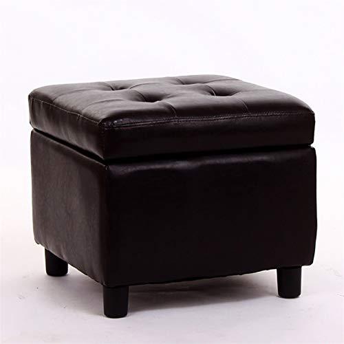 HCKLK Otomano de Almacenamiento, reposapiés de reposapiés, Mesa de Centro, Taburete de sofá, Banco de Zapatos, Cuero (Color : Marrón)