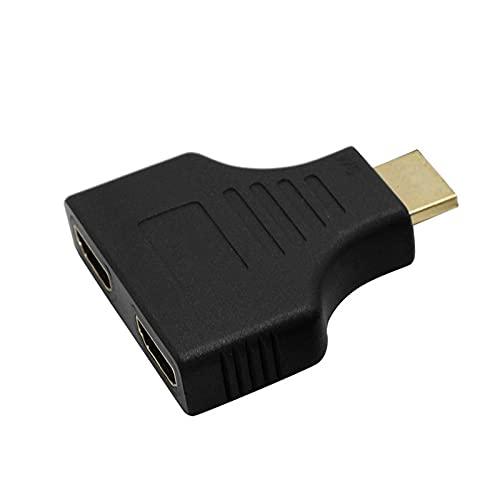 Color Yun 1080P HDMI-Compatible Ports Macho a 2 Hembra Adaptador Divisor de 1 Entrada y 2 Salidas (Negro)