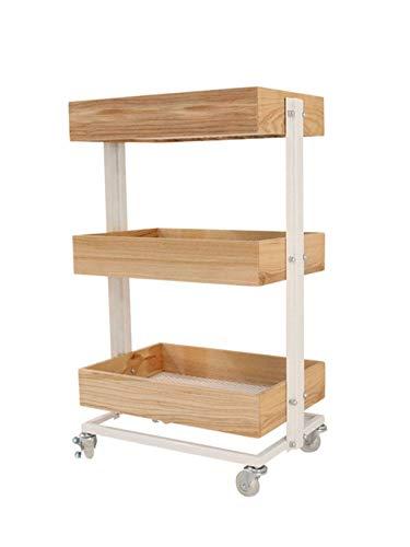 ChangSQ-Bandeja de almacenamiento Nivel 3 Carro utilitario, palets de madera con estantes de almacenamiento Ruedas Mesilla de noche en el dormitorio Baño Cocina del balanceo de la compra productos dom