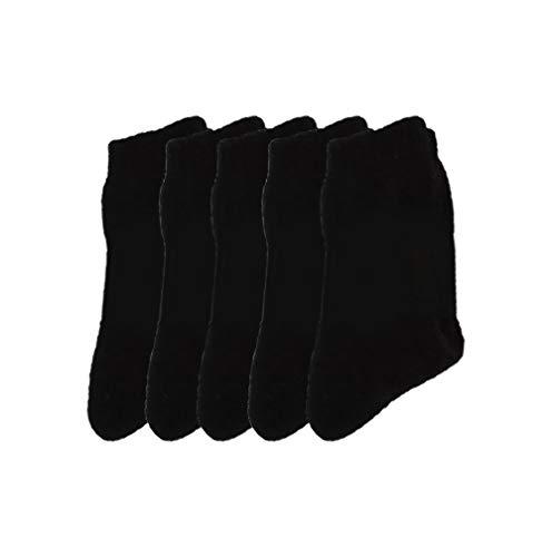 Pluto & Fox Calcetines Térmicas Gruesos Cálidos De Lana Borrego Para Hombre Color Liso Invierno Para Calentar Los Pies O Para Trabajos Duros Pack de 5 Pares (Negro, 39-44)