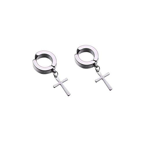 FENICAL Moda Ear Cuff Clip en Pendientes sin Piercing Mujeres Hombre Ear Cuff Sin Perforado Sin Agujero (Silver Cross)