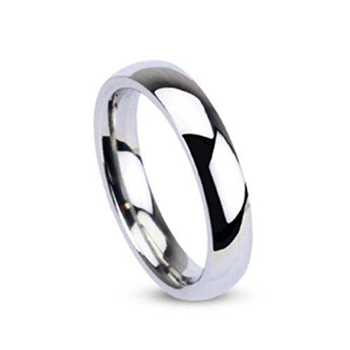 Paula & Fritz R001 4,anello in acciaio inox chirurgico 316L, fede nuziale classica color argento, smaltata e lucidata; larghezza: 4mm e acciaio inossidabile, 61 (19.4), cod. R001-4-10