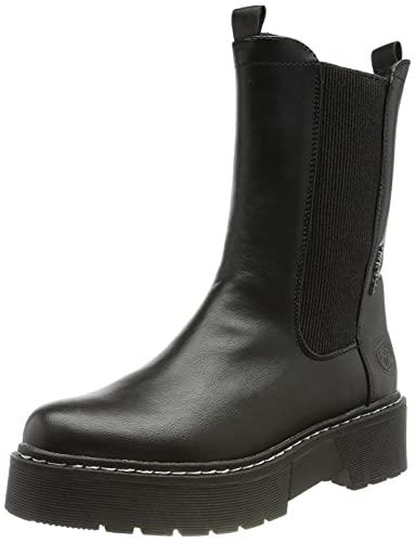 Tom Tailor Damen 2196416 Chelsea-Stiefel, Black, 39 EU