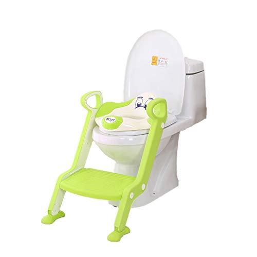 XL- Töpfchen-Trainingssitz Unisex-Kleinkind-Toilette - Robuste faltbare einstellbare Leiter Rutschfeste Tritt- und Sicherheitsgriffe, Toilettentrainer mit Treppe (Farbe : Grün)