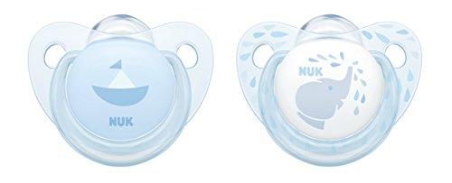 NUK 10176184 Baby Blue Trendline Silikon-Schnuller, kiefergerechte Form, 6-18m Monate, 2 Stück, blau