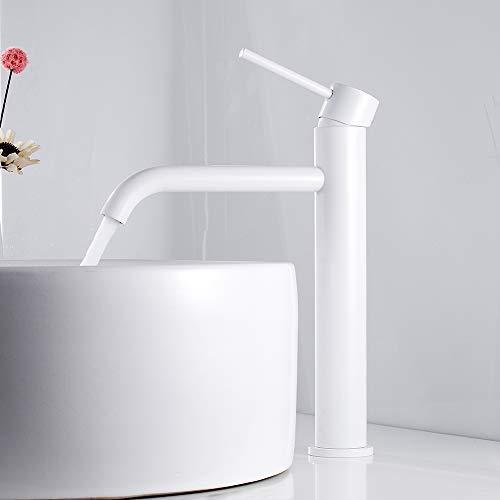 Rubinetto Lavabo Bagno Alto in Acciaio Inox Miscelatore Bianco per Lavandino da Bagno (Bianco)