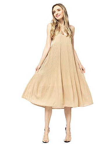 Anna-Kaci Womens Spaghetti Strap Chiffon Backless Swing Pleated Tank Midi Dress, Begige, Large Beige