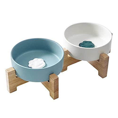 LIEKUMM Hunde-Katzennapf-Schalen mit Holzständer für Futter und Wasser, kein Verschütten von Tiernahrung Wasserzufuhr für Katzen Kleine Hunde 2er-Set Gratis EIN Slow Feeder Ball