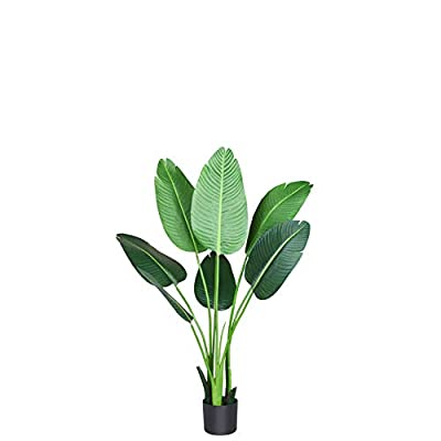 Fopamtri Artificial Tropical Palm Tree Fake Plant for Indoor Outdoor, Perfect Faux Plants for Home Garden Office Store Decoration, 5 Feet