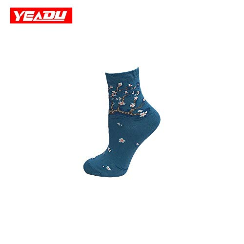 WLQXDD Spezielle Geschenksocken Gekämmte Baumwolle Frauen Socken Lustige Sommer Kunst Öl Gedruckt Neuheit Harajuku Kawaii Fox Avocado Happy Sox Für Mädchen