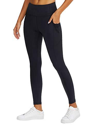 LA ORCHID Laorchid - Pantalones de yoga para mujer, para deporte, fitness, yoga, cintura alta, con bolsillos, push up Negro S