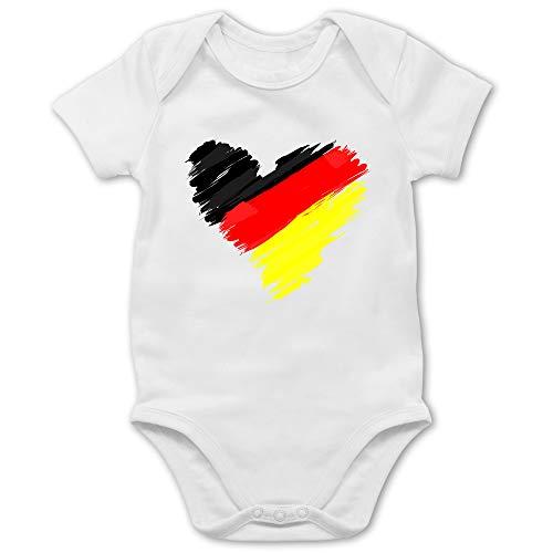 Shirtracer Fußball-Europameisterschaft 2021 - Baby - Deutschland WM Herz - 1/3 Monate - Weiß - wm Body Deutschland - BZ10 - Baby Body Kurzarm für Jungen und Mädchen