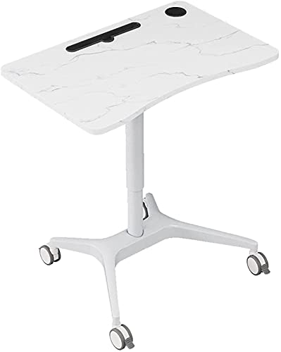 Estación de trabajo de la mesa de trabajo de alto nivel de trabajo de la estación de trabajo de elevación neumática del escritorio de la computadora portátil con 4 rodillos silenciosos de la cama móvi