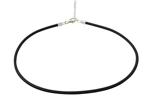 Skielka Designschmuck 3 mm Kautschuk Collier hochwertige Goldschmiedequalität aus Deutschland (Sterling Silber 925) Kautschukkette - Halsband - mit Verlängerung