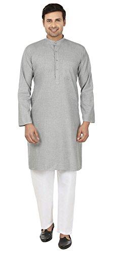 Wollmischung Baumwolle Herren Kurta Pyjama Indische Kleidung (Grau, L)