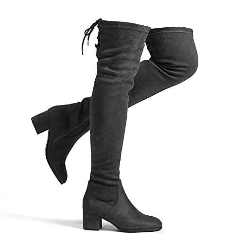 DREAM PAIRS Women's Laurence Grey Over The Knee Thigh High Chunky Heel Boots Size 5.5 M US
