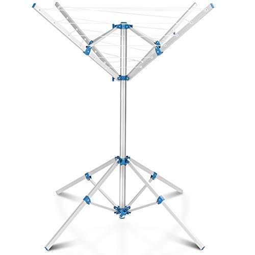 COSTWAY Wäschespinne, Wäscheschirm mit Füßen, Wäscheständer aus Aluminium, mit 16m Wäscheleine, klappbar (Modell 1)