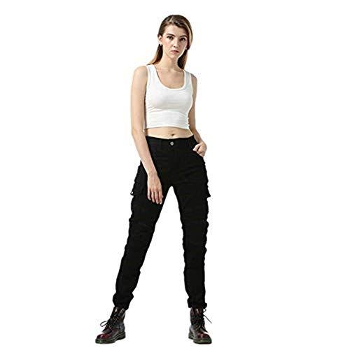 TIUTIU Motorrad-Jeans Für Damen, Army Green Freizeithose, Bruchsichere Rennhose Mit 4 Abnehmbaren Schutzpolstern (Black,S)