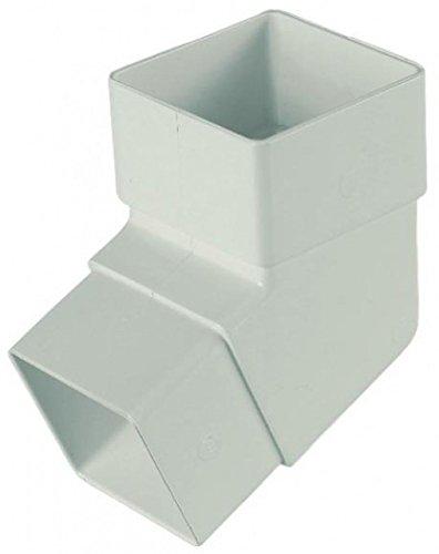 Floplast Quadratisches Fallrohr, 65 mm, 112,5 Grad abgewinkelt, gebogen, Weiß, 2 Stück