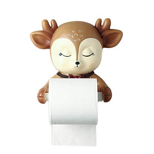 ZLSP Creativa Ciervos Portarrollos montado en la Pared de baño de Papel higiénico dispensador de Papel Titular de niños Decoración - Resina