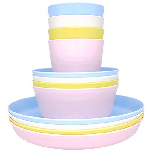 BSTOB 12 unids/Set Juego de vajilla de plástico de Colores aleatorios Juego de Picnic y Fiesta Reutilizable 4 Tazas 4 tazones y 4 Platos para niños y niñas