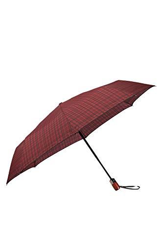 SAMSONITE Wood Classic S - 3 Section Auto Open Close Short Folding Umbrella, 27 cm, Red (Bordeaux Scottish)
