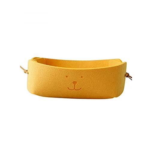 exari Cesta de Almacenamiento pequeña de Fieltro Plegable Multifuncional Llaves de Escritorio Caja de Almacenamiento de Joyas Suministros de Almacenamiento para el hogar-Yellow
