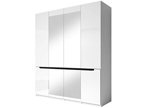 Furniture24 Kleiderschrank Hektor - 20, Schrank, mit 4 Türen, Kleiederstange, Spiegel und 5 Einlegeboden, Hochglanz, Drehtürenschrank (Weiß/Weiß Hochglanz/Schwarz)