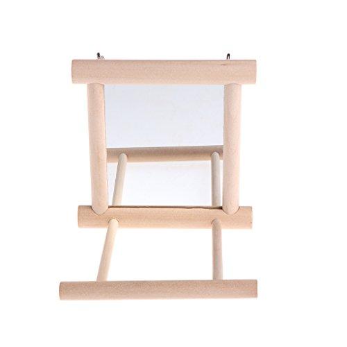 Kalttoy Spielzeug für Vögel, Spiegel aus Holz, mit Sitzstange für Papageien, Wellensittiche, Nymphensittiche, Finken, Liebesvögel