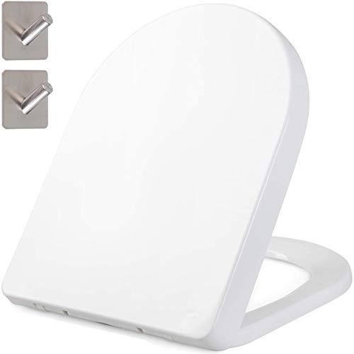 Asiento de inodoro WC con forma de D - Tapa de inodoro WC de cierre suave - Material termoestable antibacteriano + 2 ganchos...