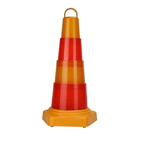 straight fire Multi-Functional Traffic Cone Road Parking Cones LED Safety Cone Telescopic Roadblock Safety Warning Cone Traffic Warning Cone Safety (Size : 68cm)