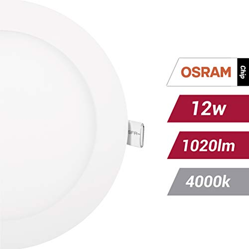 POPP- (Pack x 2 ) downlight led Placa LED redondo 12W.neutro (4000K, 12W) chip OSRAM.[Clase de eficiencia energética A+]
