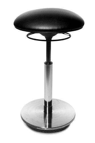 Topstar ST79S10 Drehhocker Sitness 27 / Bezugstoff schwarz / Fussplatte Holz mit Edelstahlabdeckung