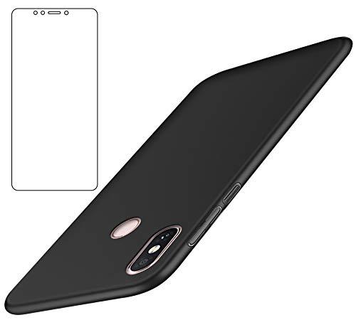 BLUGUL Xiaomi Mi Max 3 Hülle + Panzerglas, Superdünn, Voll Schützend, Seidengefühl, Schutzfolie & Harter Schutzhülle für XiaoMi Max 3, Schwarz