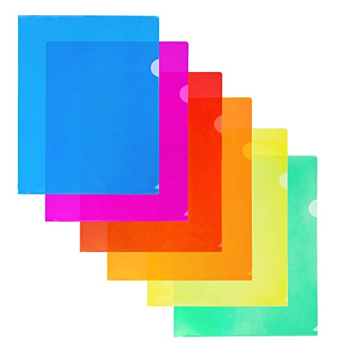 """Dunwell Multicolor Transparent Plastic Sleeves (12 Pack, Assorted 6 Colors), 8.5x11"""" Letter Size, Poly Document Folders, Plastic File Pockets, Poly Project Jacket , Archival Plastic Document Sleeve"""