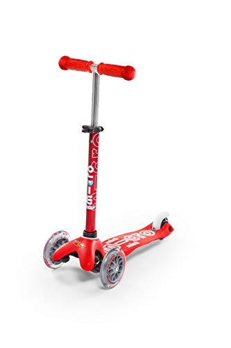 Micro Mobility - Trottinette Mini Deluxe Rouge - Trottinette Enfant au Design Original - Apprentissage de l'équilibre en Douceur - De 2 à 5 Ans - Rouge