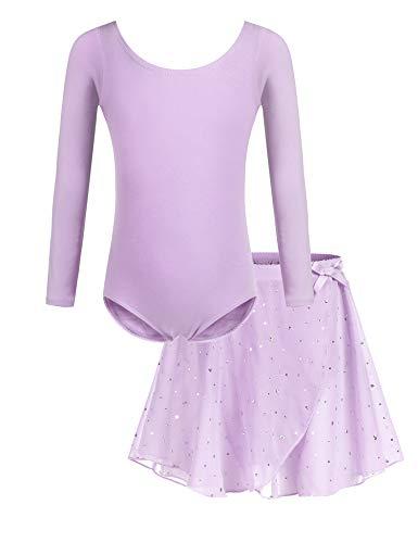 Bricnat Mädchen Ballettkleidung Ballettkleid Tanzbody Gymnastikanzug Balletttrikot Langarm Tanzkleid mit Tütü Kinder Baumwolle Violett 120