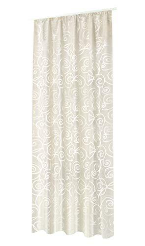 NOVUM fix Gardine Vorhang Dekoschal* modernes Jaquardgewebe mit leichtem Glanz* bis 300 cm hoch*Blickdicht* Champagner (140x245cm(BxH))